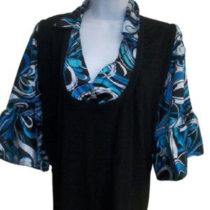 Blousy  Black Bell Sleeve Top Size 22